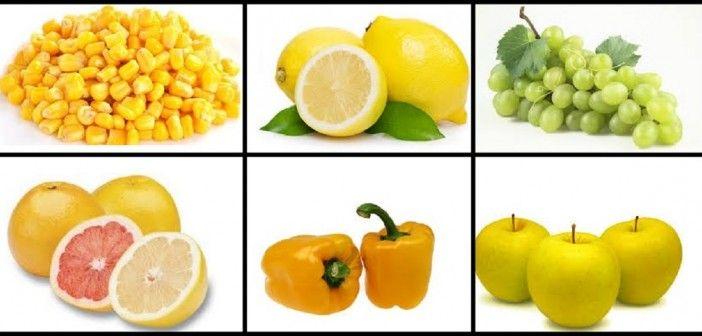 Surtido de Frutas y Verduras de Color Amarillo