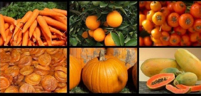 Surtido de Frutas y Verduras de Color Naranja