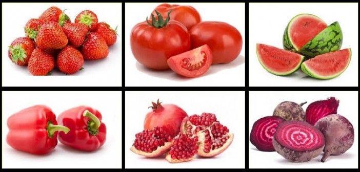 Surtido de Frutas y Verduras de Color Rojo